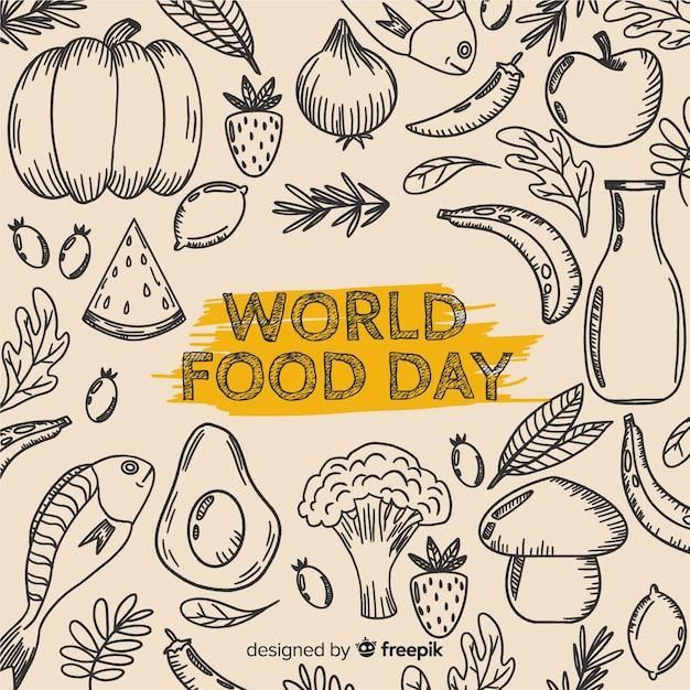 手描きデザインの世界の食の日 無料ベクター