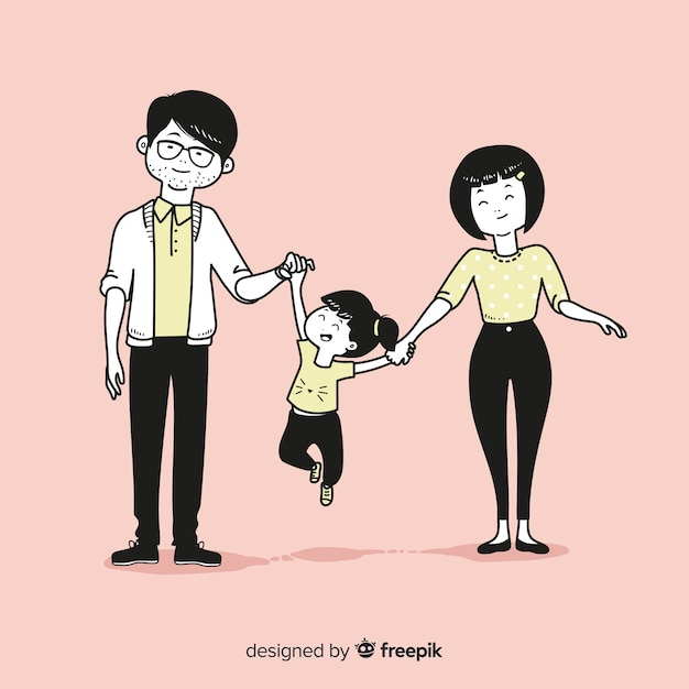 Молодая семья в корейском стиле рисования Бесплатные векторы