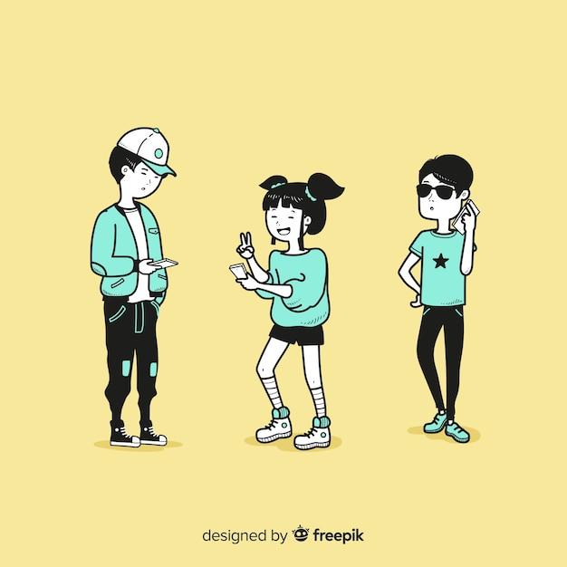 韓国の描画スタイルでスマートフォンを保持している若者 無料ベクター