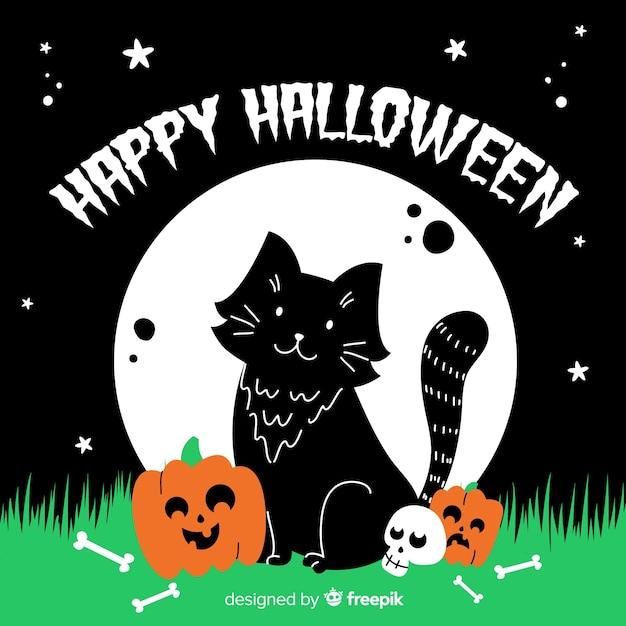 手描きのメッセージとハロウィーン猫 無料ベクター