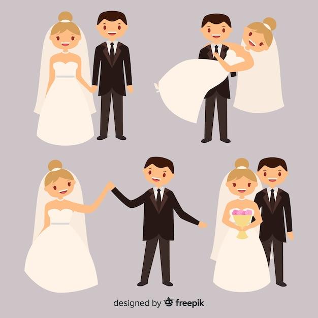 Плоский дизайн коллекции свадебной пары Бесплатные векторы