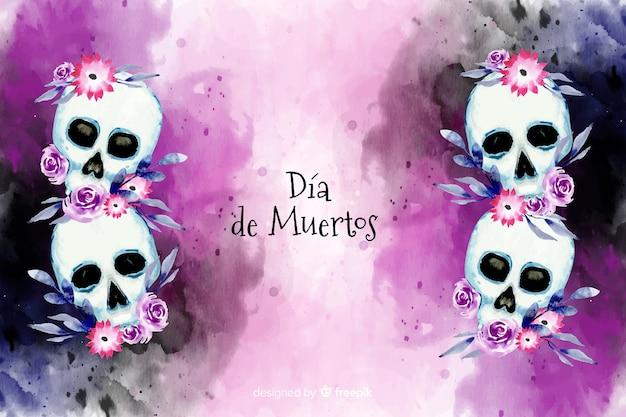 花の頭蓋骨の背景を持つ水彩ディアデムエルトス 無料ベクター