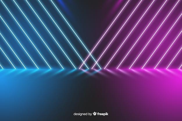 Красочные неоновые огни стадии фон Бесплатные векторы