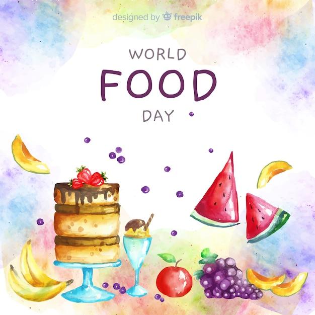 ケーキと水彩の世界食の日 無料ベクター