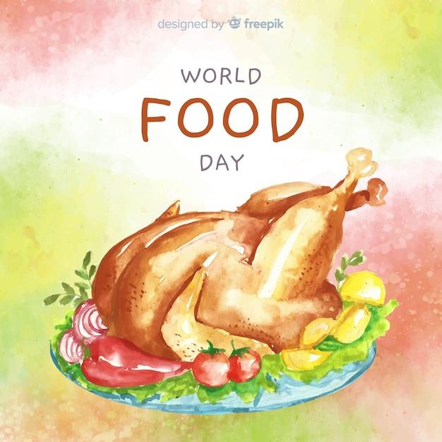 鶏の水彩デザインの世界食糧日 無料ベクター