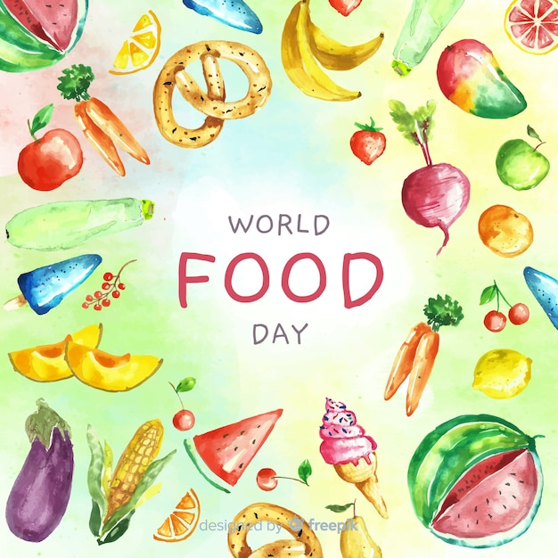 Всемирный день продовольствия, текст, окруженный пищей Бесплатные векторы