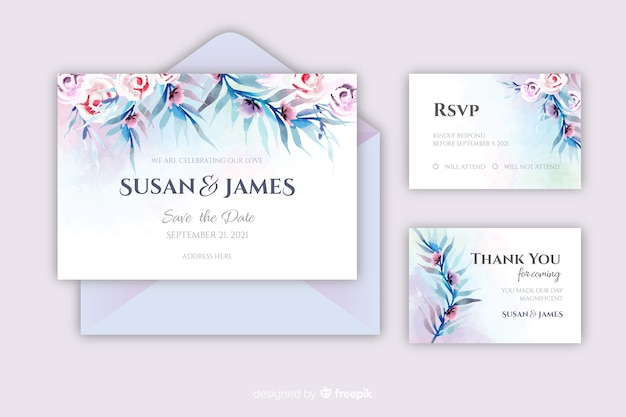Красивый акварельный свадебный шаблон приглашения Бесплатные векторы