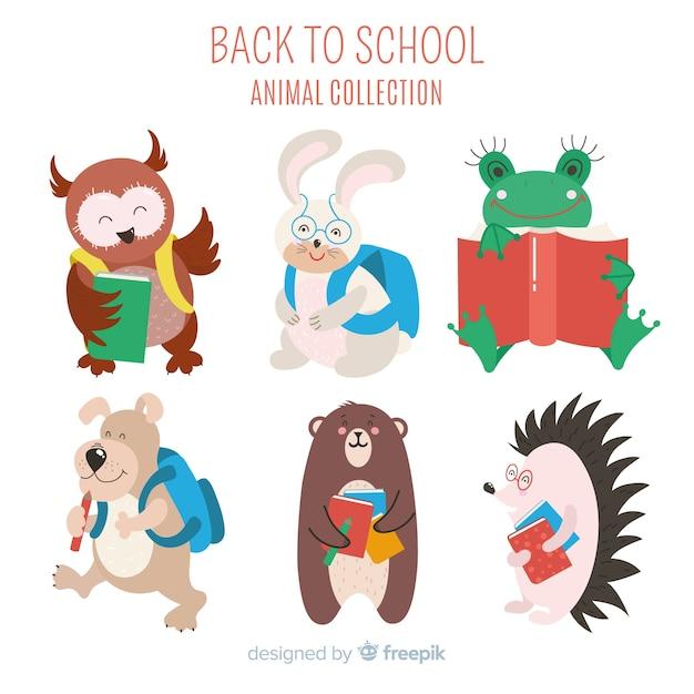 学校に戻る芸術的な漫画の動物コレクション 無料ベクター