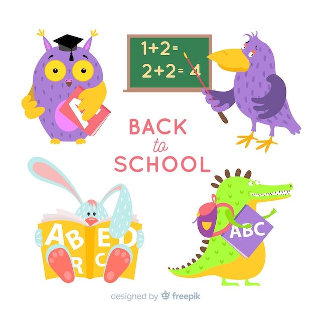 学校に戻る漫画動物コレクション 無料ベクター