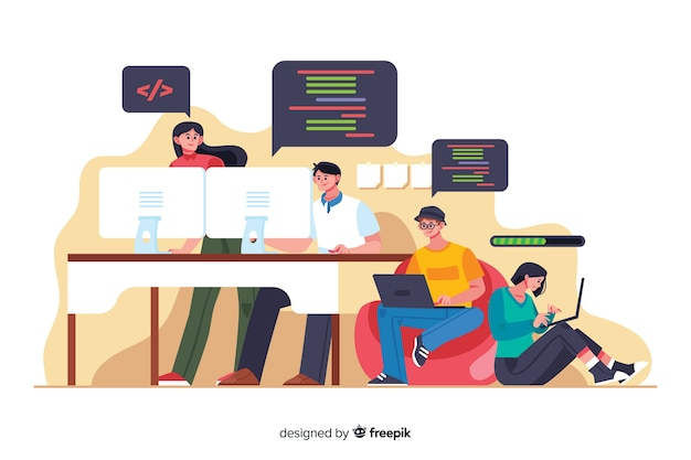 オフィス労働時間漫画プログラマー 無料ベクター