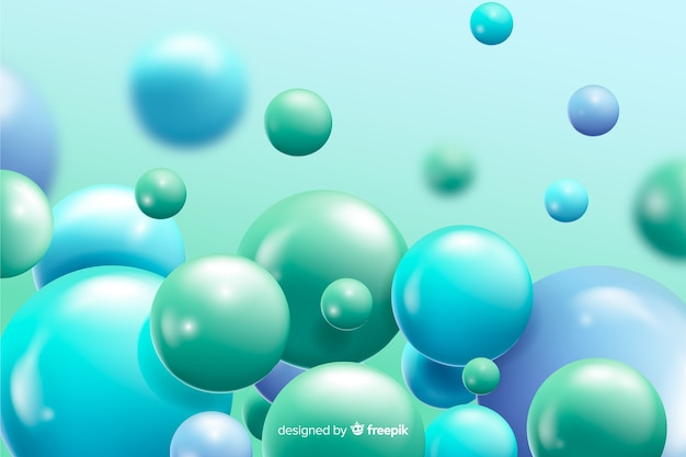 現実的な流れる青いボールの背景 無料ベクター