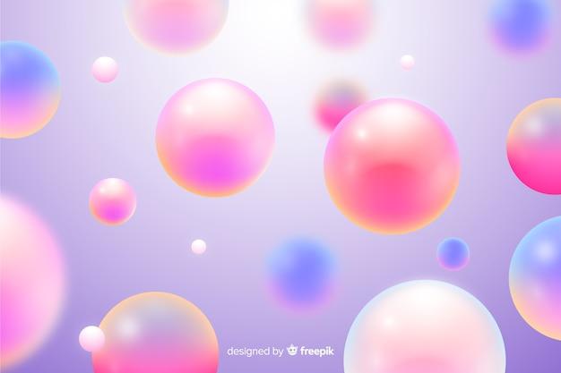現実的な流れるピンクのボールの背景 無料ベクター