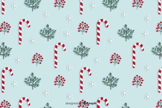 フラットなデザインのクリスマスキャンディー杖背景 無料ベクター