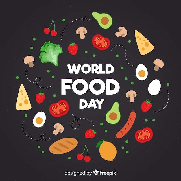 Всемирный день еды с пищей в плоском дизайне Бесплатные векторы