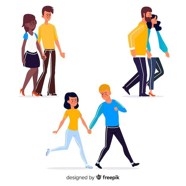 イラストを一緒に歩く若いカップル 無料ベクター