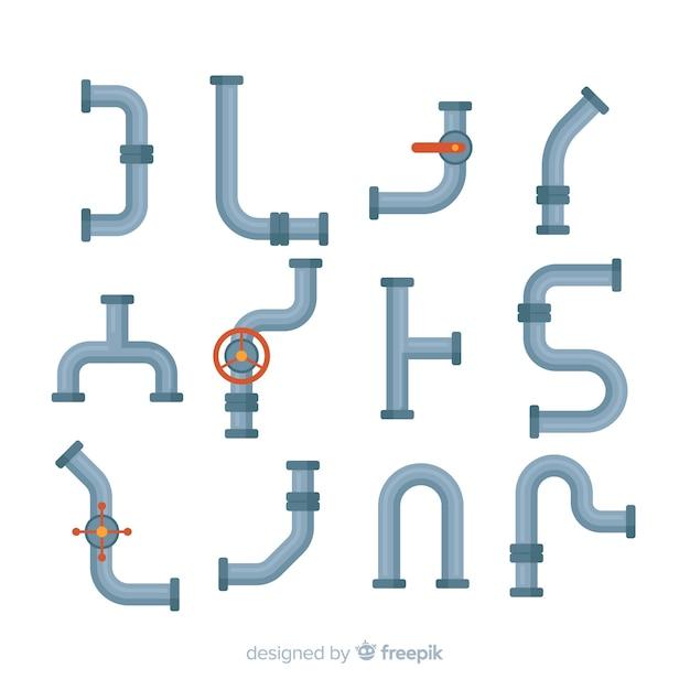 Плоский дизайн коллекции труб с различными формами Бесплатные векторы