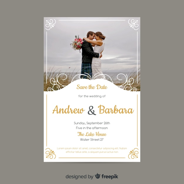 Декоративное свадебное приглашение с фото Бесплатные векторы