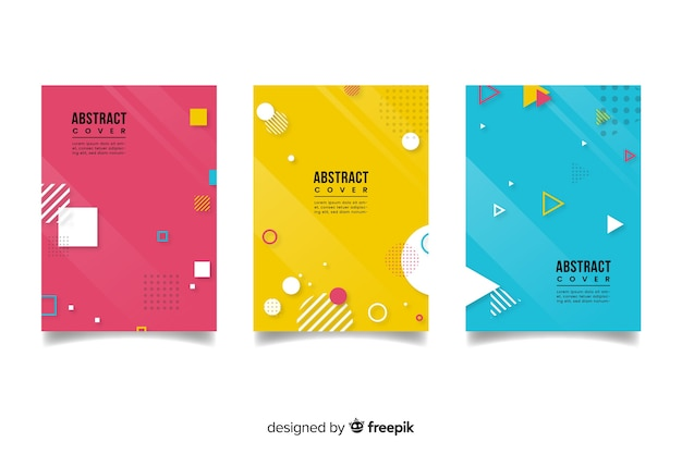 Красочная абстрактная коллекция обложек с геометрическими фигурами Бесплатные векторы