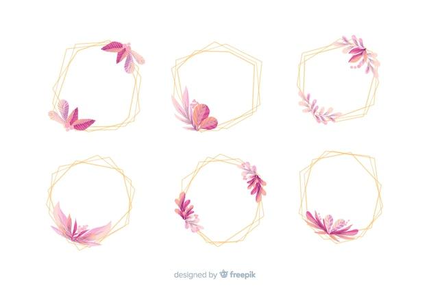 Коллекция акварельных свадебных рамок логотипов Бесплатные векторы