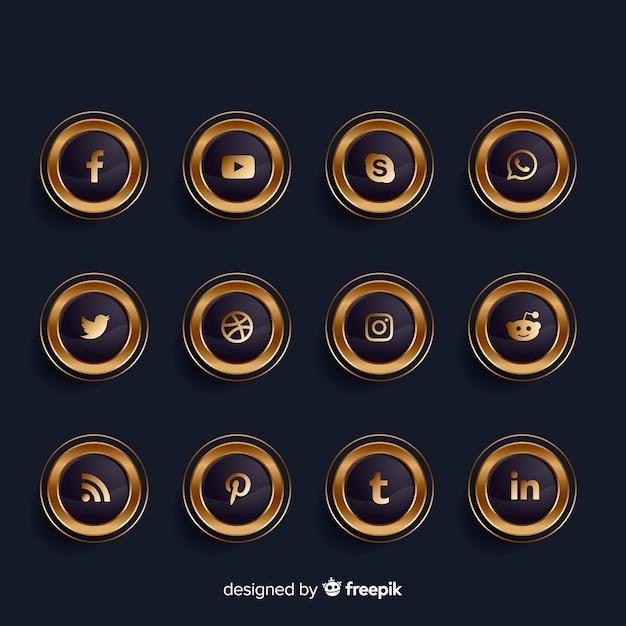 Роскошная золотая и черная коллекция логотипов в социальных сетях Бесплатные векторы