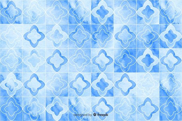 青い色合いの水彩モザイクの背景 無料ベクター