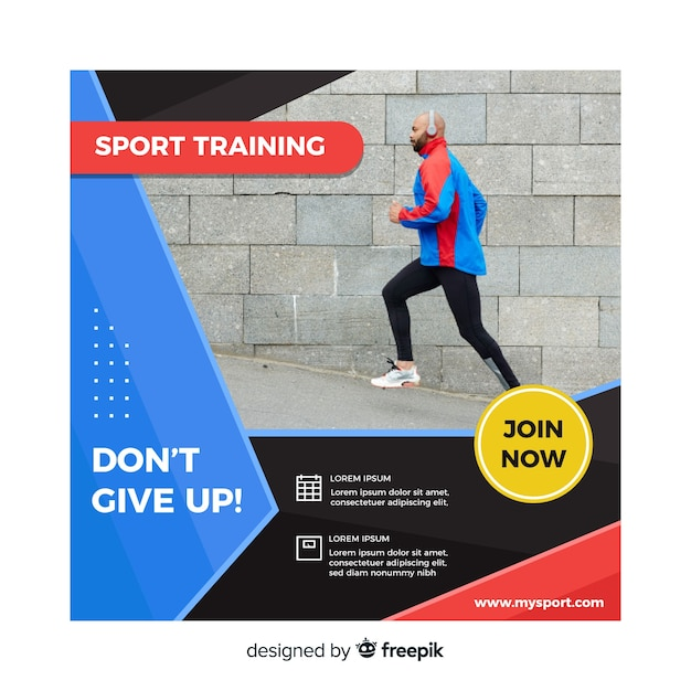 写真付きスポーツトレーニングチラシ 無料ベクター