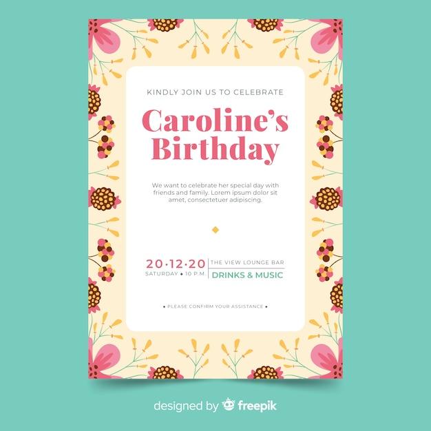花のスタイルで誕生日の招待状のテンプレート 無料ベクター