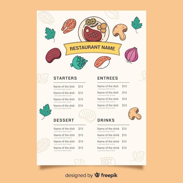 Шаблон питания с различными ингредиентами Бесплатные векторы