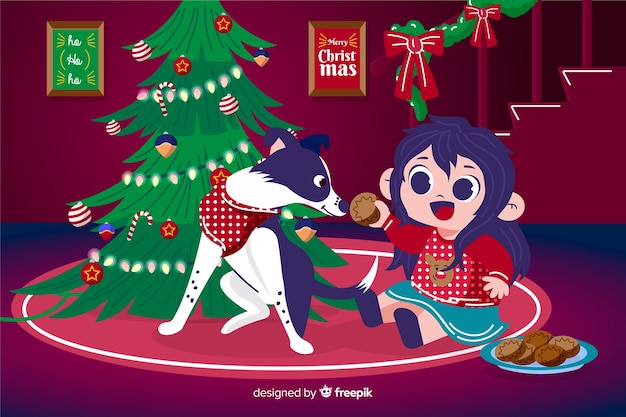 手描きクリスマス背景 無料ベクター