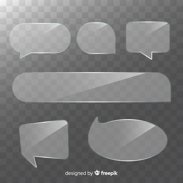 Коллекция реалистичных прозрачных речевых пузырей Бесплатные векторы