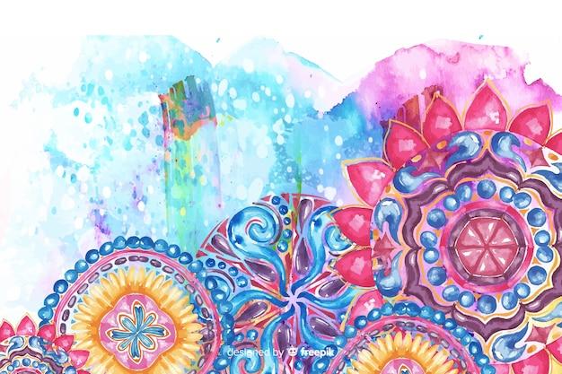 水彩の装飾用の花の背景 無料ベクター