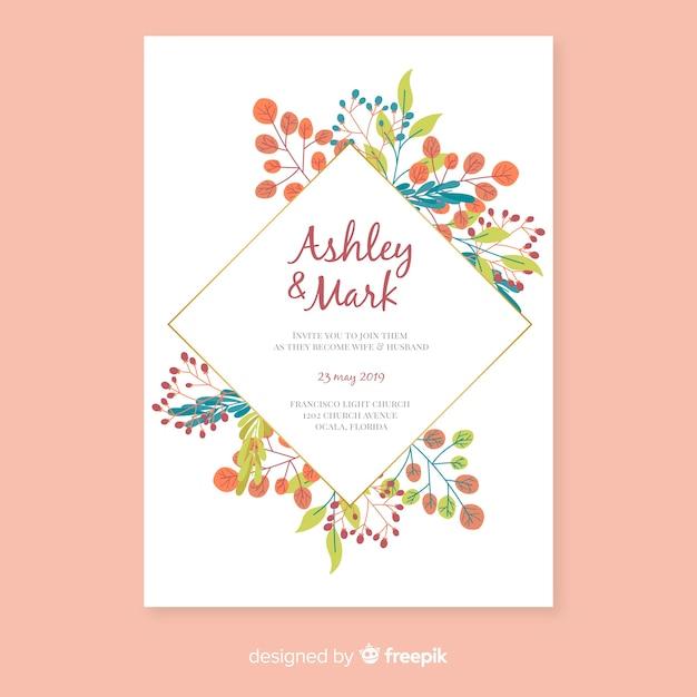 花の結婚式の招待状のテンプレートのフラットなデザイン 無料ベクター