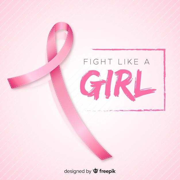 乳がん啓発イベントの現実的なリボン 無料ベクター