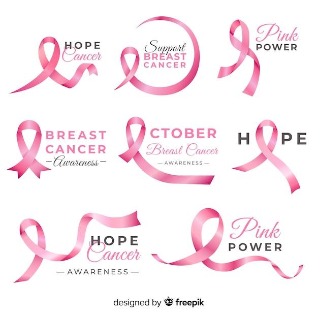 現実的な乳がん啓発バッジコレクション 無料ベクター