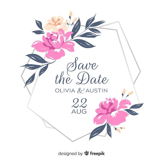 手描きの花のフレームの結婚式の招待状 無料ベクター