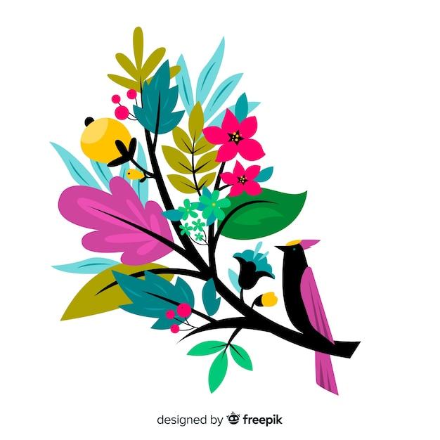 鳥とフラットなデザインのカラフルな花の枝 無料ベクター