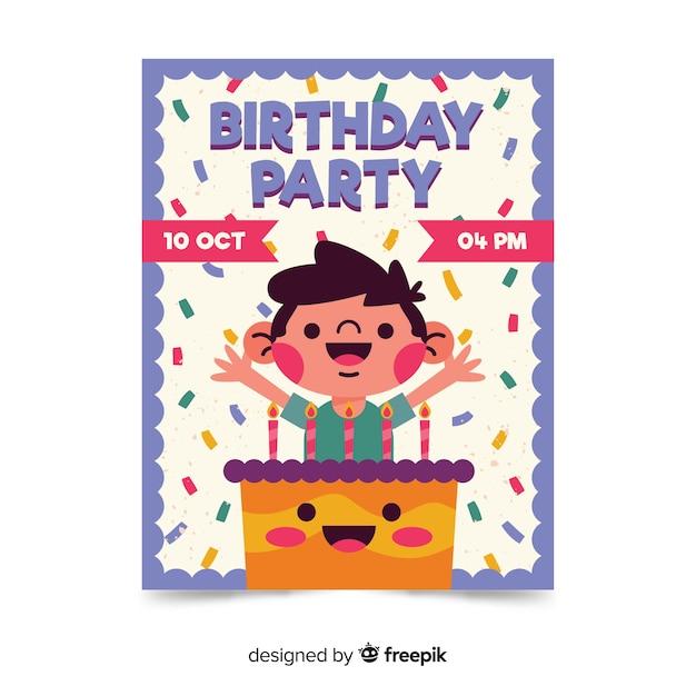 ケーキと子供の誕生日の招待状のテンプレート 無料ベクター