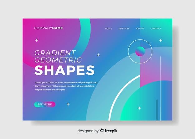 グラデーション幾何モデルのランディングページ 無料ベクター