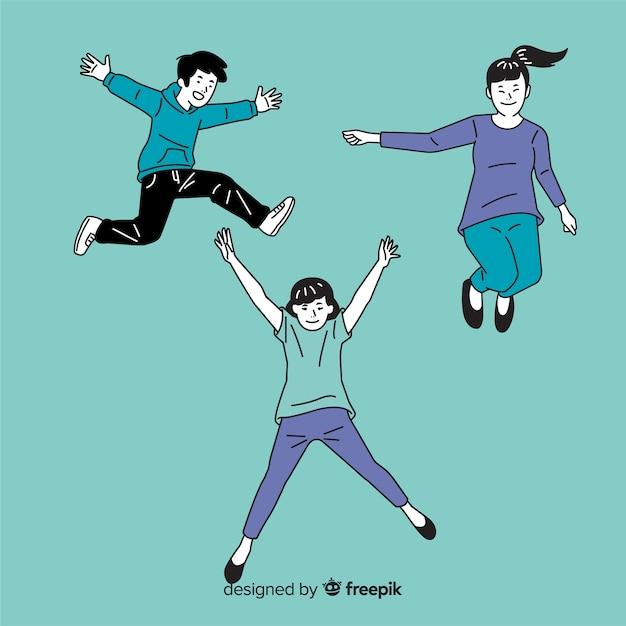 韓国の描画スタイルでジャンプする人々 無料ベクター