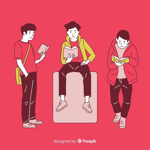 背景が赤の韓国の描画スタイルで読んでいる若者 無料ベクター