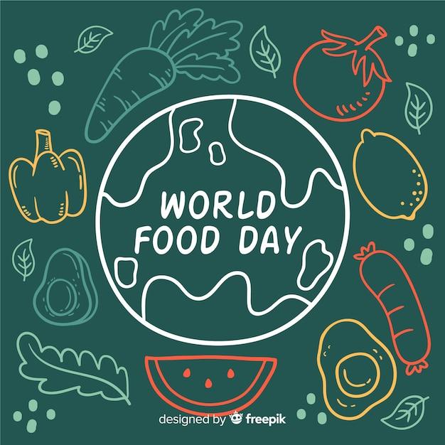 Концепция всемирный день продовольствия с рисованной фон Бесплатные векторы