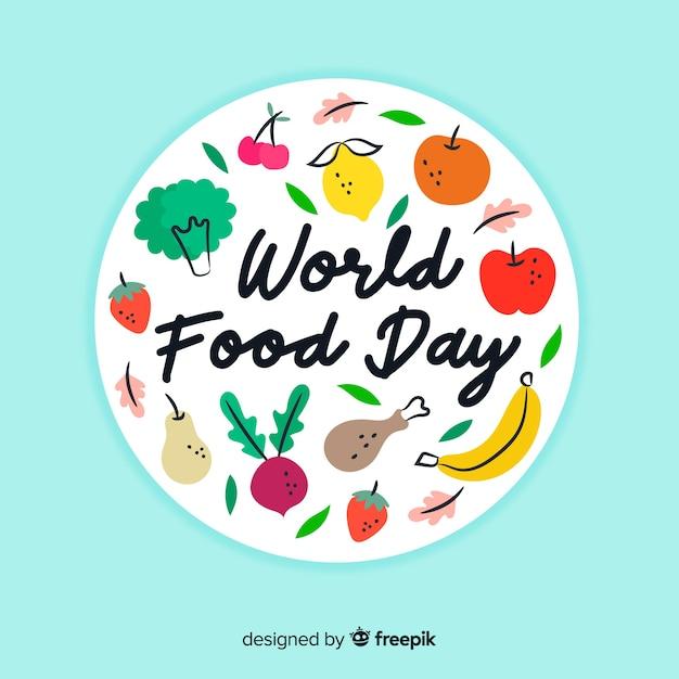 手描きの世界食の日のコンセプト 無料ベクター