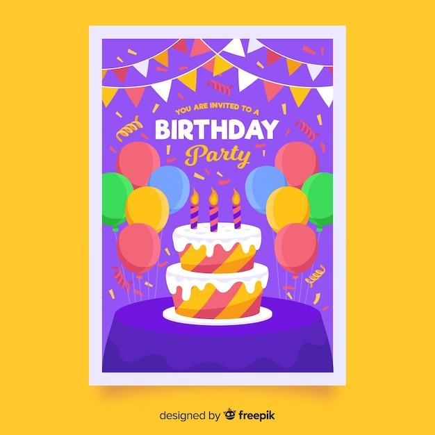 ケーキと風船で子供の誕生日の招待状のテンプレート 無料ベクター
