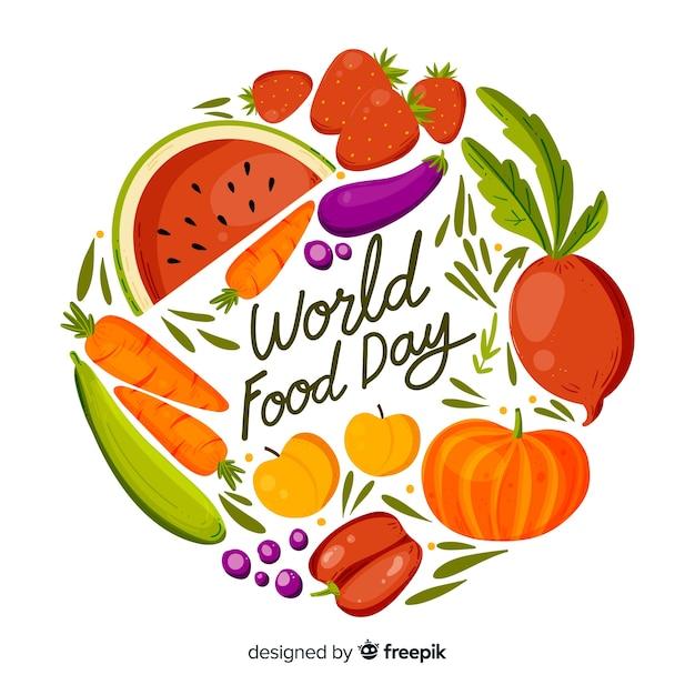 世界食品デーと手描きデザイン 無料ベクター