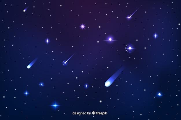 Градиентный фон звездной ночи с галактикой Бесплатные векторы