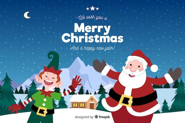 手描きのクリスマスの背景にサンタクロースとエルフ 無料ベクター