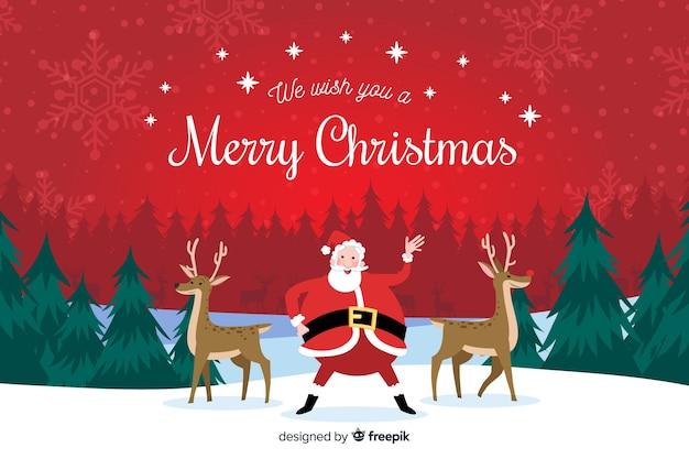 サンタクロースとトナカイの手描きクリスマス背景 無料ベクター