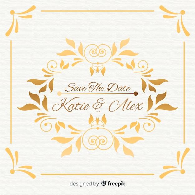 日付の結婚式の招待状を保存 無料ベクター