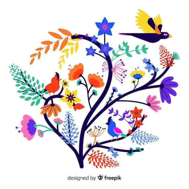 Плоская красочная цветочная ветка с колибри Бесплатные векторы
