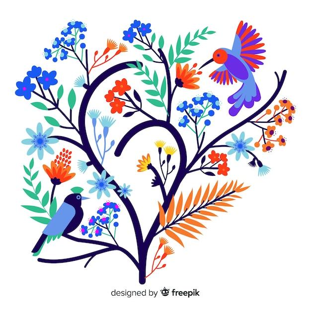 Плоская красочная цветочная ветка с птицей Бесплатные векторы